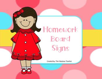 Homework Board Signs
