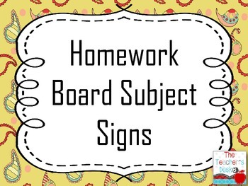 Homework Board Subject Signs paisley pattern