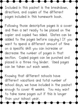 Homework Booklet for Entire Year Integrating Dibels Practice
