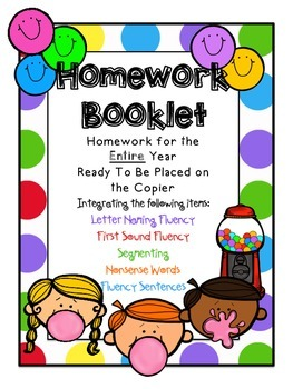 Homework Booklet for Entire Year Integrating Dibels Practice
