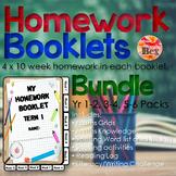 Homework Booklets Bundle Yr 1 - 2, 3 - 4, 5 - 6 (40 Weeks)