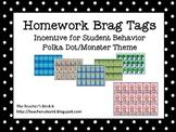 Homework Brag Tags Polka Dot Monster Theme