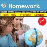Homework Calendar 1st Grade   Aug.-May   Free
