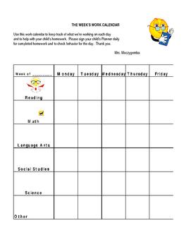 Homework Calendar 2