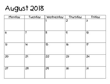 Homework Calendar 2017-2018 UPDATED!!