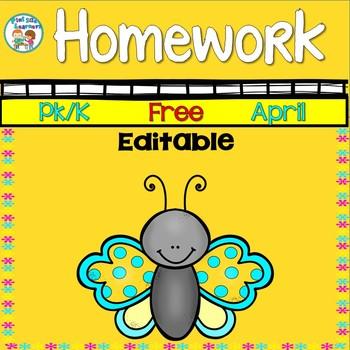 Homework Calendar April 2019 PK K Editable Free