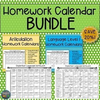 Homework Calendar BUNDLE: Articulation and Language Level 1