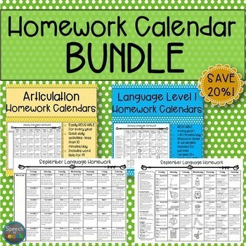 Homework Calendar BUNDLE: Articulation and Language Level 1
