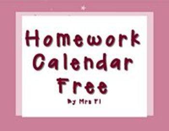 Homework Calendar  FREE!