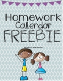 Homework Calendar Freebie
