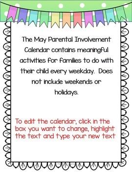 Homework Calendar May 2019 PK K Editable and Free