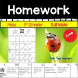 Homework Calendar May 2021 First Grade Editable and Free
