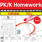 Homework Calendar May 2021 PK K Editable and Free