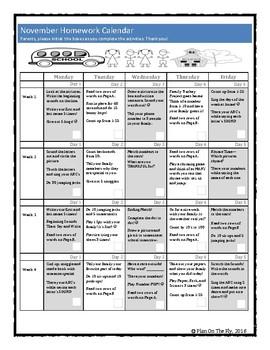 Homework Calendar November for PreK, K, and 1st Grades
