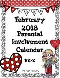 Homework Calendar PK-K February 2018