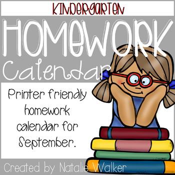 Homework Calendar – September Freebie