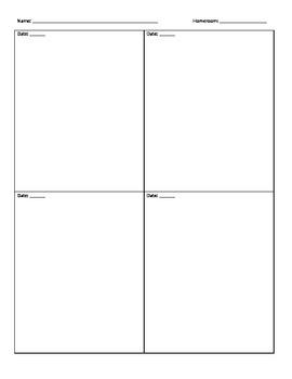 Homework Calendar Show Your Work Page