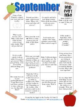 Homework Calendar/Activity Calendar for September