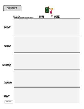 Homework Calendar/Assignment Pages