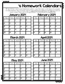 Homework Calendars 2017-2018