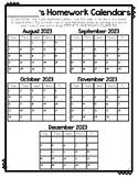 Homework and Behavior Calendars 2018-2019