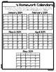Homework Calendars 2016-2017
