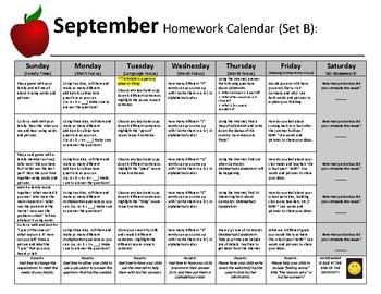 Homework Calendars - A Year of Homework Calendars for Elementary & SpecEd.