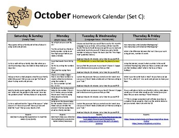 Homework Calendars - A Year of Homework Calendars for Elementary & SpecEd.