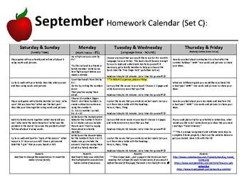 Homework Calendars - A Year's Worth of Homework for Elementary & SpecEd Students