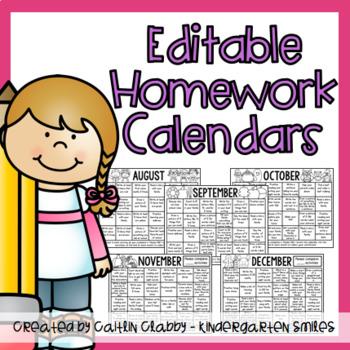 Homework Calendars (Editable)