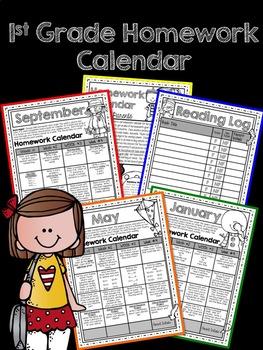 Homework First Grade Calendar -Editable