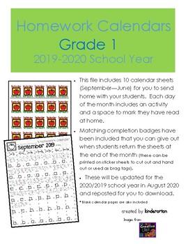 Homework Calendars - Grade 1