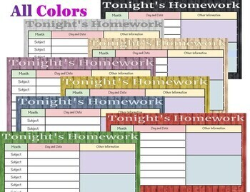 Homework Calendars for Daily, Weekly, and Monthly Schedules