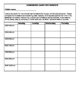 Homework Card for Parents