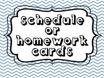 Homework Cards/ Schedule Cards