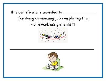 homework certificate