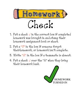 Homework Check-In Instruction Sheet