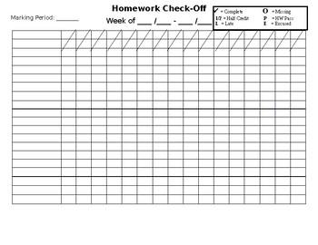 Homework Check-Off Editable