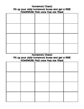 Homework Check Sheet