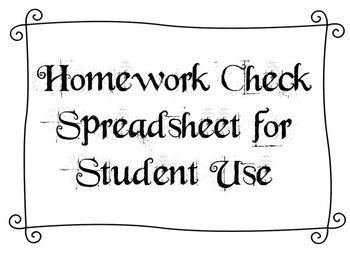 Homework Check Spreadsheet for Student Use
