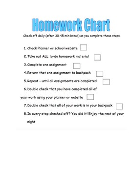 Homework Checklist (executive functioning