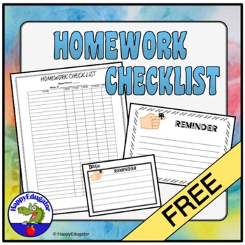 FREE Homework Checklist for Middle School or High School