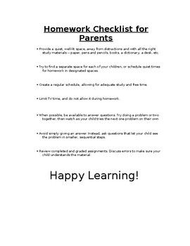 Homework Checklist for Parents