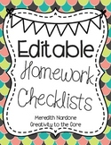 Homework Checklists *EDITABLE*