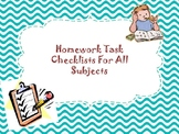 Homework Checklists for all Subjects