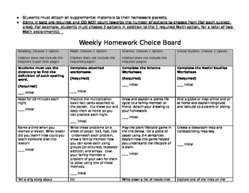 Editable Homework Choice Board