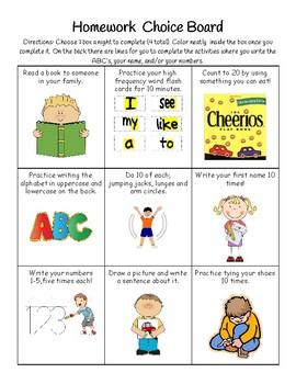Homework Choice Board (Easy)