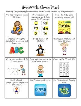 Homework Choice Board (Medium)
