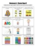 Homework Choice Board-No Technology