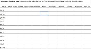 Homework Choice Board Recording Sheets.